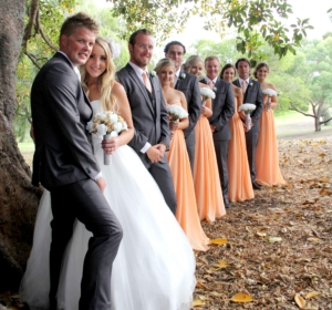 wedding day at a forest with friends