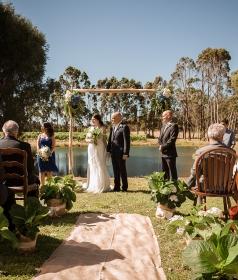 civil wedding at a lake